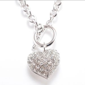 New Crystal Pave heart toggle necklace